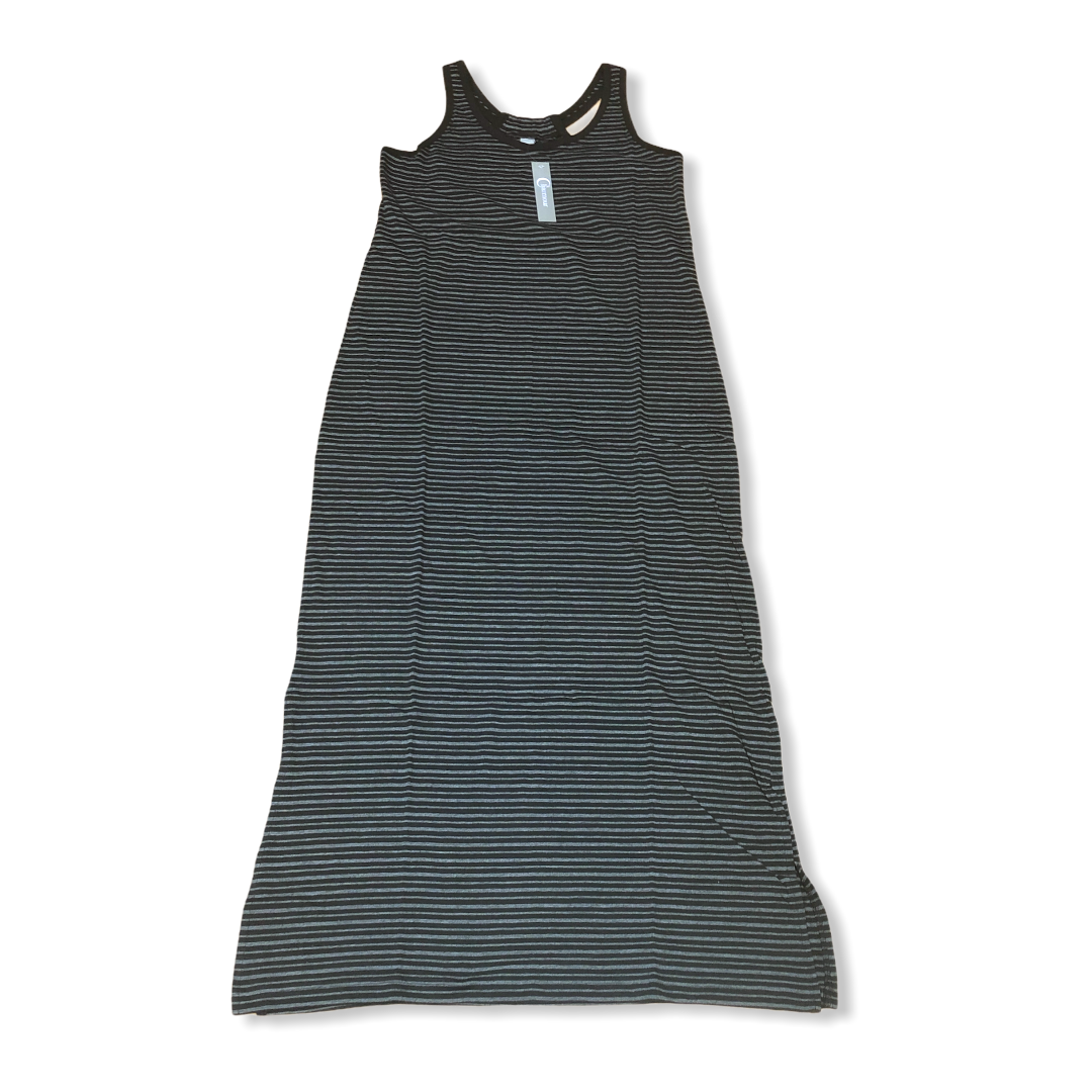 CHARMOUR - Striped Poly Cotton Racerback Long Lounge Dress