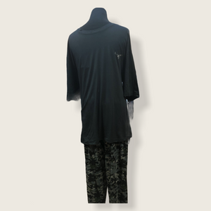 Mens 2 Piece Pajama Set with Short Sleeve T-Shirt & Cuffed Pants
