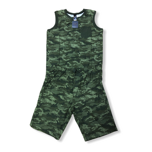 CASUAL TIME - Men's Poly/Spandex Two Piece Set w Sleeveless Top & Shorts