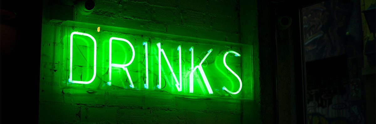 Alcoholic drinks neon sign