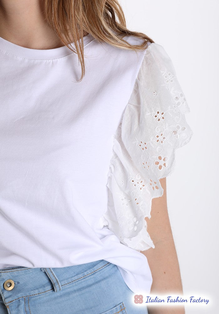 T-shirt in Cotone pizzo