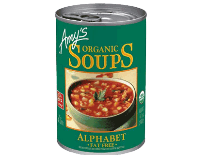 AMY'S Organic Alphabet Pasta Soup Fat Free, 400gm