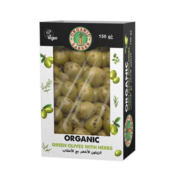 ORGANIC LARDER Green Olives With Herbs, 150g