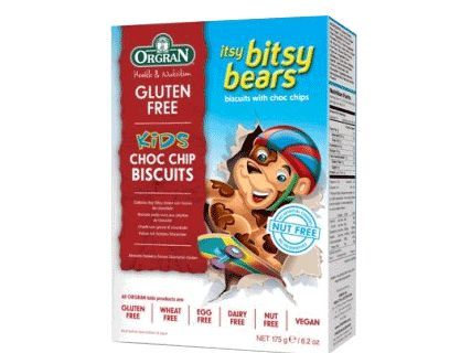 ORGRAN Itsy Bitsy Bears Choc Chip Cookies Biscuits