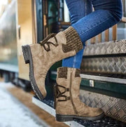 Women's Knitting Patchwork Snow Boots