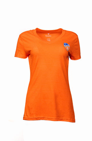 Women's Mini Crest V-Neck Orange