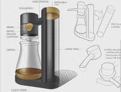 product sketch of a sleek coffee brewer