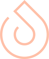 A peach pink Kavnia logo, in the shape of a droplet of water
