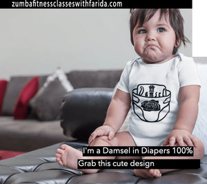 "Baby-Clothing844 - ""Damsel in Diapers"" Short Sleeve Cotton Graphic Baby Onsie Jumper"
