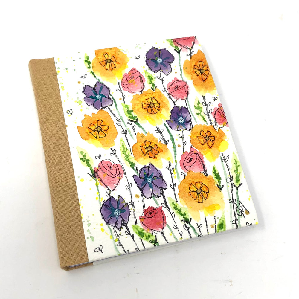 Flirty Flowers Watercolor Handmade Journal by Gail Sawyer