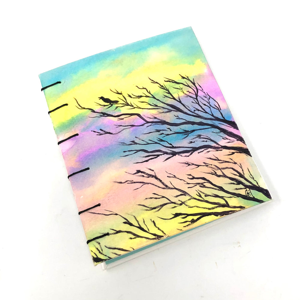Branches and Sunset Watercolor Handmade Journal by Gail Sawyer