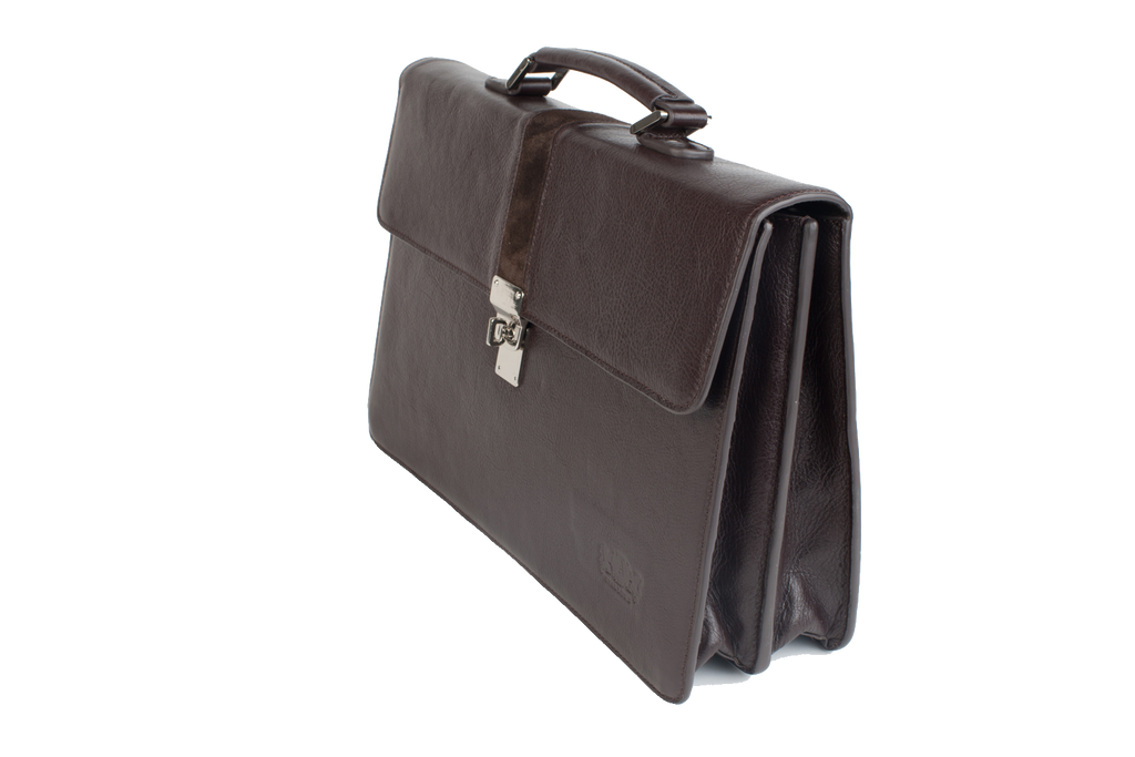 Executive Handmade Leather Briefcase - Brown - Avallone - 1