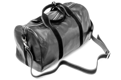 1st Class Traveler - Black - Handmade Italian Leather Duffle Bag