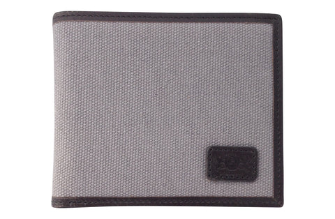 Men's Canvas & Leather Bi-Fold RFID Wallet - Grey