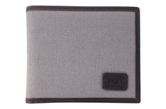 Men's Canvas & Leather Bi-Fold RFID Wallet - Grey - Avallone - 1