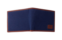 Men's Canvas & Leather Bi-Fold RFID Wallet - Navy Blue - Avallone - 2