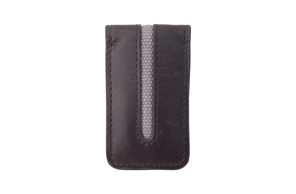 Men's Canvas & Leather Magnetic Money Clip - Grey - Avallone - 1
