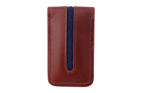 Men's Canvas & Leather Magnetic Money Clip - Brown