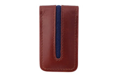 Men's Canvas & Leather Magnetic Money Clip - Brown - Avallone - 1