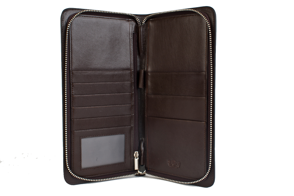 Executive Passport Holder Leather Wallet - Brown - Avallone - 1