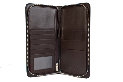 Executive Passport Holder Leather Wallet - Brown