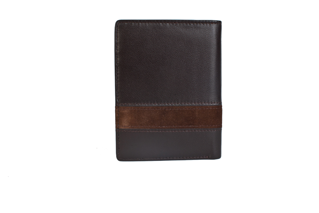 Executive Tri-Fold Mens Leather Wallet - Brown - Avallone - 1