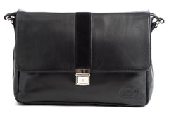City Messenger - Black - Men's Italian Leather Messenger Bag - Avallone - 2