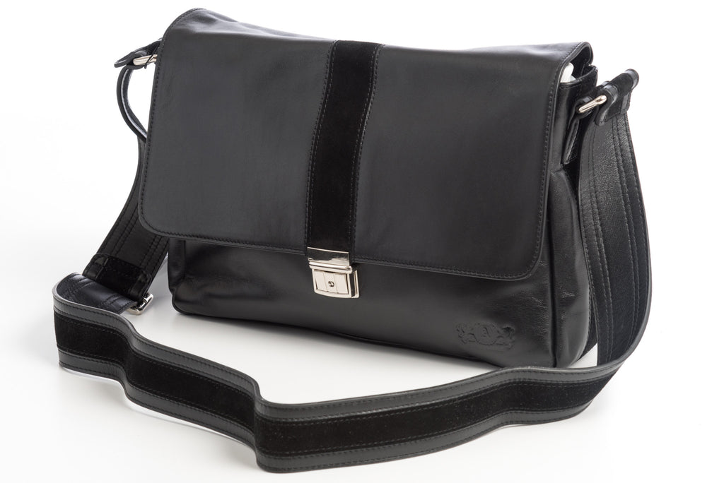 City Messenger - Black - Men's Italian Leather Messenger Bag - Avallone - 1