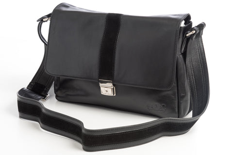 City Messenger - Black - Men's Italian Leather Messenger Bag