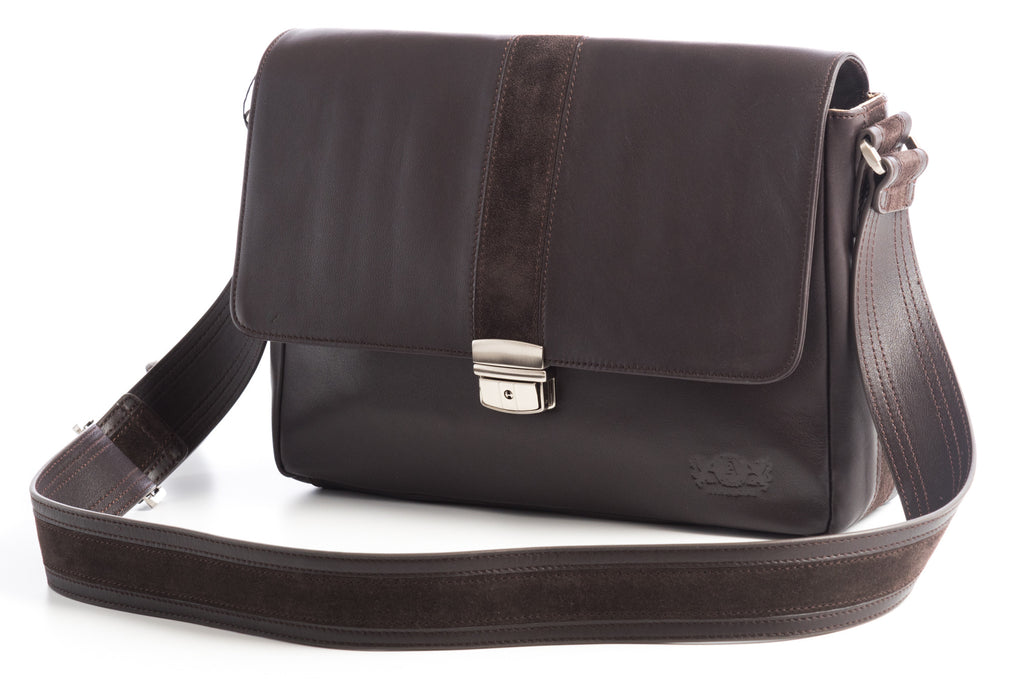 City Messenger - Brown - Men's Italian Leather Messenger Bag - Avallone - 1
