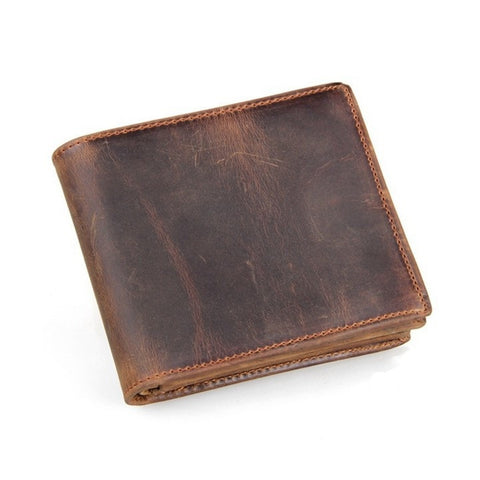 Western Bi-Fold Mens Leather Wallet - Brown