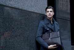 Executive Handmade Leather Briefcase - Brown - Avallone - 6