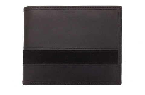Executive Bi-Fold Mens Leather Wallet - Black