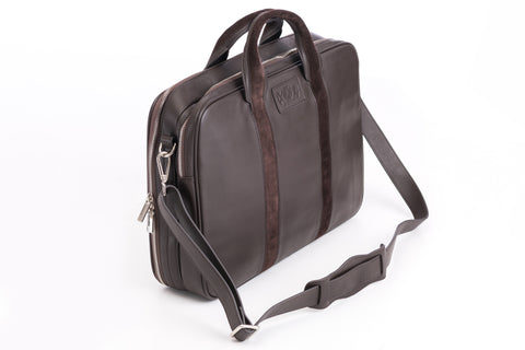 Executive Leather Laptop Holder - Dark Brown Italian Napa Leather