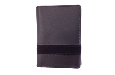 Executive Tri-Fold Mens Leather Wallet - Black