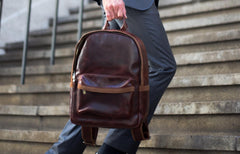 Antique Luxury Leather Backpack - Avallone - 6