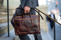 Antique Luxury Leather Briefcase - Avallone - 8