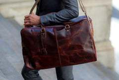 Antique Leather Weekender Bag - Avallone - 8