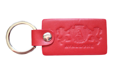 Italian Leather Keychain - Red