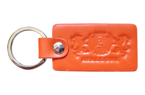 Italian Leather Keychain - Orange