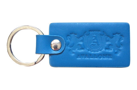 Italian Leather Keychain - Light Blue