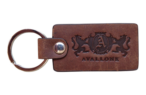 Italian Leather Keychain - Distressed Brown
