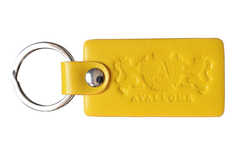 Italian Leather Keychain - Yellow