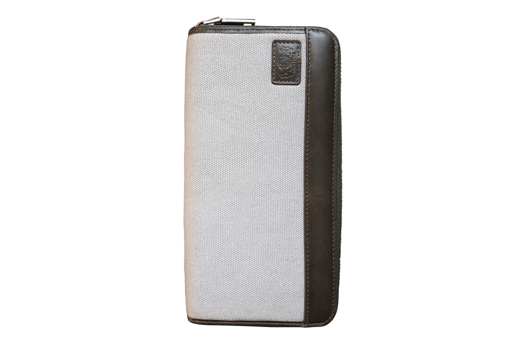 Men's Canvas & Leather RFID Zipper Travel Wallet - Grey - Avallone - 1