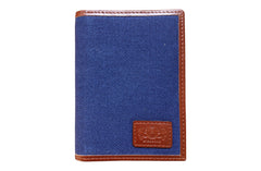 Men's Canvas & Leather Front Pocket RFID Wallet - Navy Blue - Avallone - 2