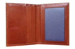 Men's Canvas & Leather Front Pocket RFID Wallet - Navy Blue - Avallone - 3