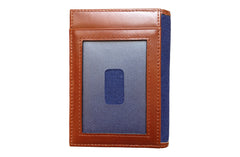 Men's Canvas & Leather Front Pocket RFID Wallet - Navy Blue - Avallone - 4