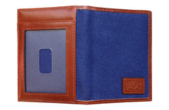 Men's Canvas & Leather Front Pocket RFID Wallet - Navy Blue - Avallone - 5