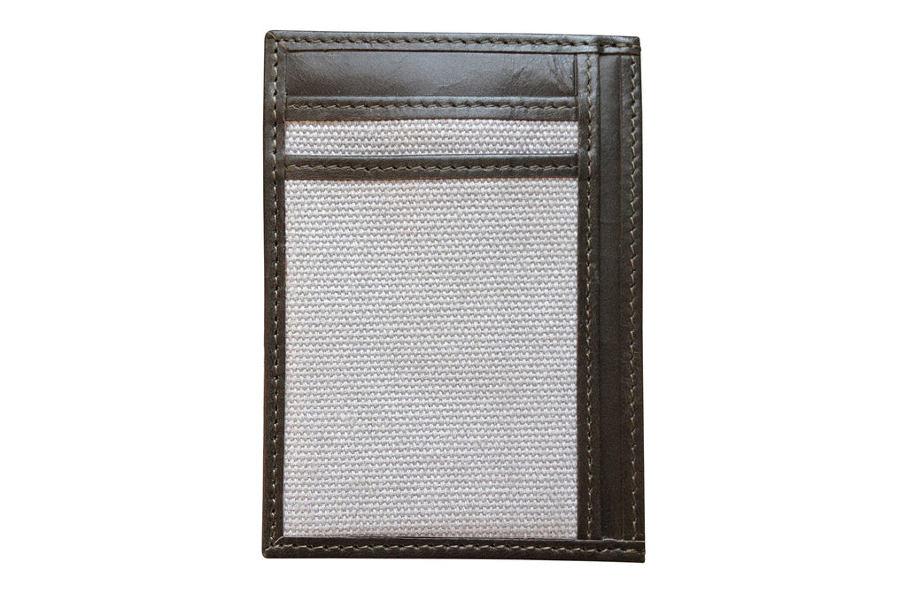 Men's Canvas & Leather Money Clip RFID Wallet - Grey - Avallone - 1