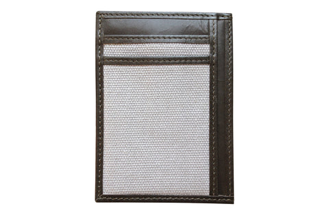 Men's Canvas & Leather Money Clip RFID Wallet - Grey